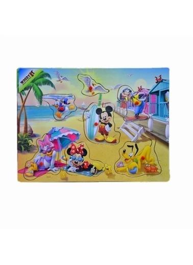 Sunman Sunman 15217 Mickey Mouse Ahşap Bultak Tutmalı Eğitici Oyun Seti Renkli